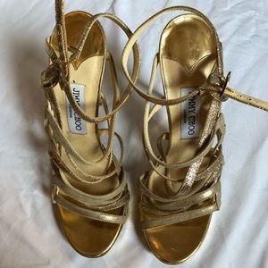 Jimmy Choo Gold Strappy Stiletto Sandals